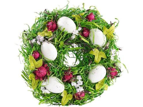 Couronne de Pâques décorative avec oeufs et fruits rouges, Ø 23cm