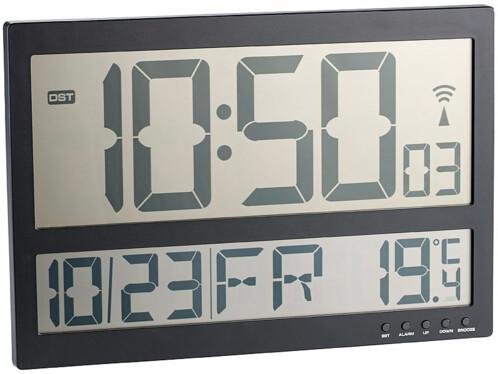 Horloge digitale radiopilotée à grand affichage LCD et thermomètre ...