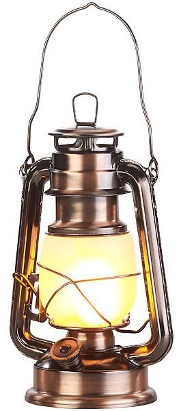 Lampe tempête effet flamme, hauteur 25cm - Coloris Bronze