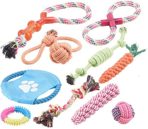 Lot de10 jouets pour chiens : à mâcher et lancer