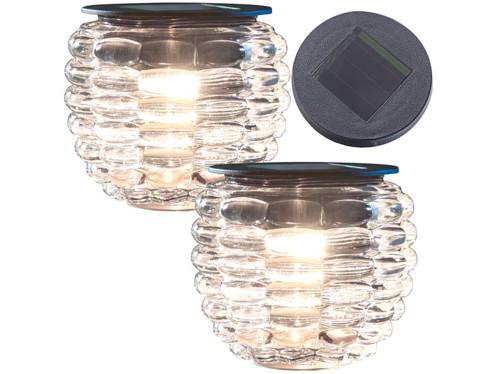 """Pack de 2 photophores en verre à LED à alimentation solaire, Ø 8 cm """"Liora"""""""