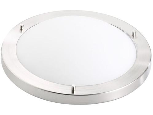 plafonnier rond en verre depoli avec arceau en acier inoxydable chromé idéal hall palier diametre 31cm