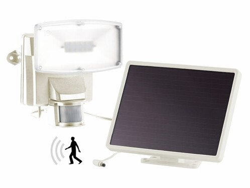 Projecteur à LED avec détecteur de mouvement et module solaire, IP44 - Blanc