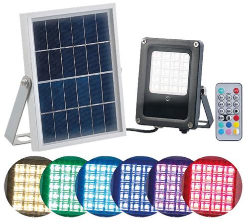 Projecteur extérieur solaire à LED RVBB 10W, avec télécommande