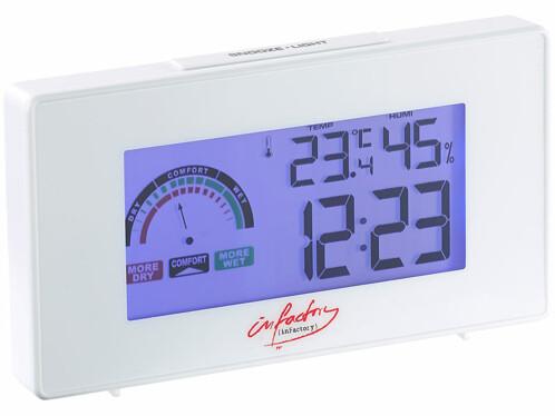 Réveil radio-piloté avec thermomètre et hygromètre