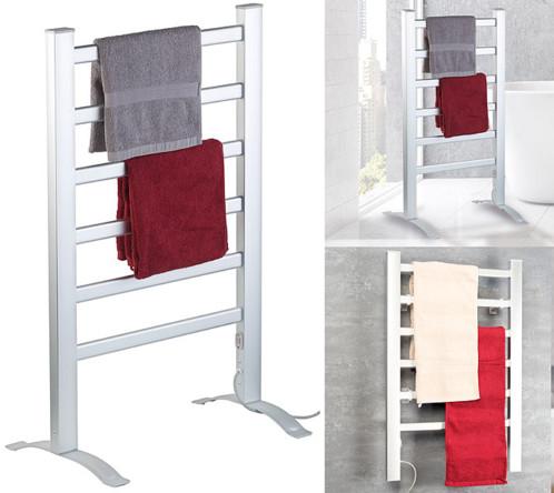 radiateur electrique de salle de bains avec porte serviette à poser au sol ou a fixer au mur sichler