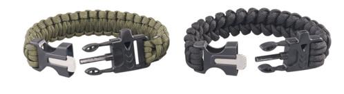 Set de 2 bracelets de survie avec sifflet, pierre à feu et couteau