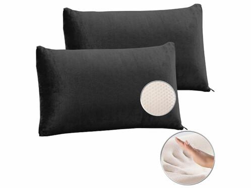 2 oreillers en mousse à mémoire de forme avec housse thermorégulatrice