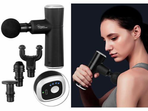 Pistolet de massage compact avec 4 embouts et 4 niveaux d'intensité
