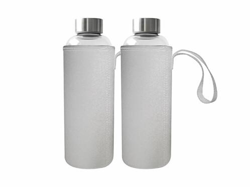 2 bouteilles en verre borosilicate 750ml sans BPA avec housse