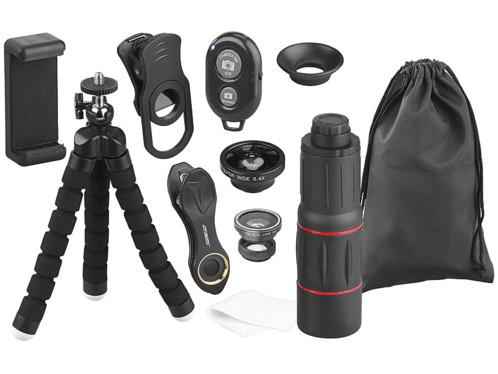 kit de lentilles fisheye macro grand angle zoom avec trepied declencheur bluetooth sac pour smartphone iphone