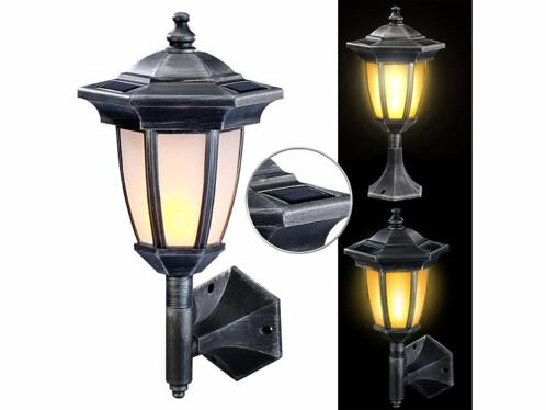 Lampe solaire avec 24 LED à effet flamme et un design de lanterne rétro.