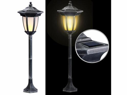 Lanterne solaire sur pied 24 LED effet flamme.