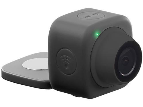 mini caméra de surveillance sport avec patch de fixation magnetique horizontal vertical somikon