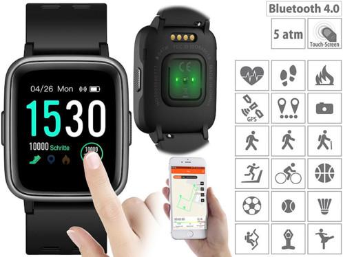Montre fitness à écran tactile avec mesure de la fréquence cardiaque et fonction bluetooth, 5ATM