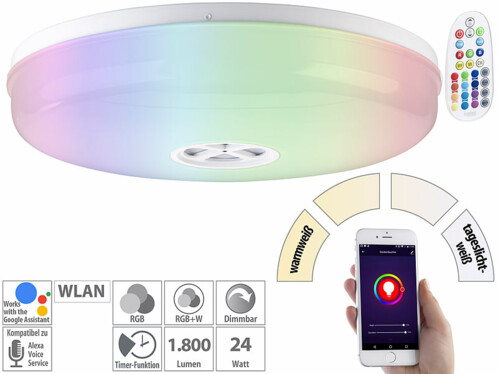 Plafonnier connecté à LED RVBB compatible Amazon Alexa et Assistant Google