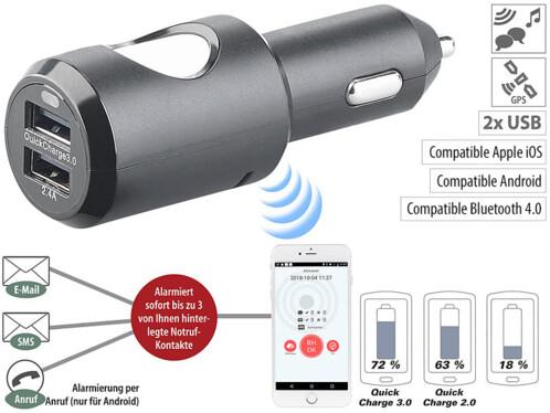 Système d'appel d'urgence sur prise allume-cigare & chargeur USB 2 ports