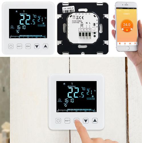 thermostat electronique wifi compatible application alexa google pour chauffage central plancher chauffant revolt