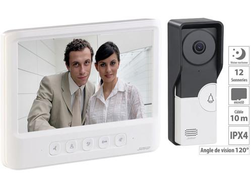 visophone grand ecran vidéo sonnette etanche fonctionnement sans fil avec bouton ouvre-porte VSA-600 somikon