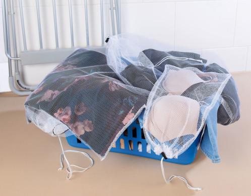 Polyester Filet de lavage /à cordon pour machine /à laver Coarse Mesh S blanc