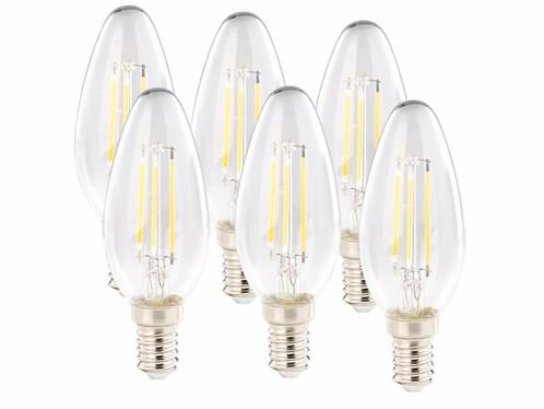 6 ampoules bougies LED E14 - 4 W - 470 lm - Blanc chaud