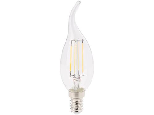 ampoule led à filament forme flamme pour chandeliers avec lumiere blanc chaud, classe a+ 4w luminea