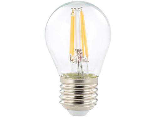 ampoule led a filament design retro avec eclairage 360 forme goutte g45 culot e27 luminea version blanc chaud