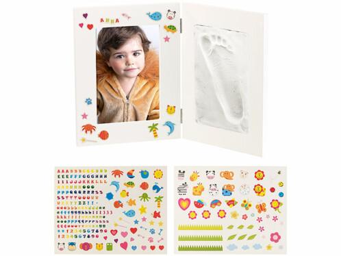 Cadre 3 en 1 spécial bébé avec photo et moulages - Petit