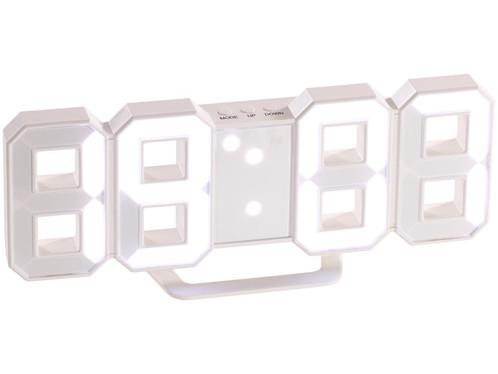 horloge digitale led design forme chiffres avec socle ou fixation murale