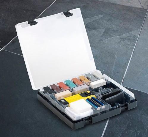 Kit de r paration pour carrelage et dalles 11 couleurs et racloir - Kit reparation eclat carrelage ...