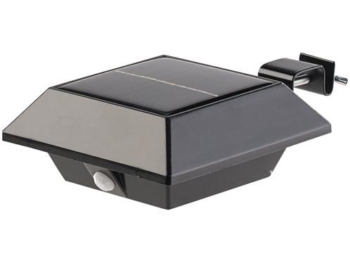 Lampe LED Solaire avec fixation pince pour Gouttières avec détecteur ...