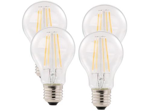 Pack 4 ampoules LED à filament format goutte E27 6W 806 lm 360° -  blanc chaud