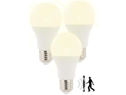 3 ampoules à LED 12 W/E27 avec détecteur de mouvement radar Blanc Chaud