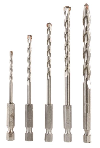 Pack de 5 forets à Béton 3 - 8 mm avec Queue Hexa
