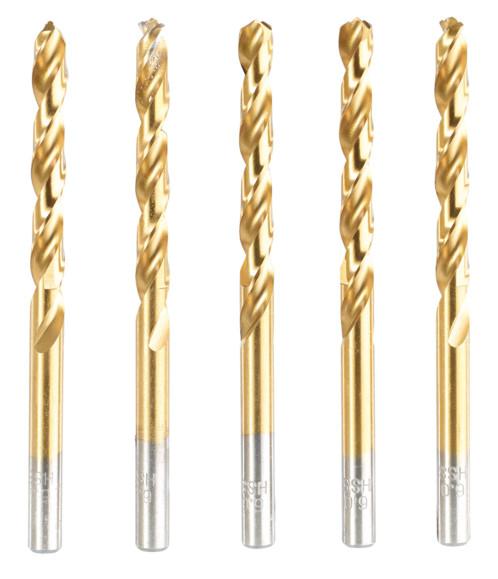 Pack de 5 forets HSS avec revêtement titane - 5 mm