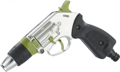 pistolet d 39 arrosage forme revolver en m tal avec jet r glable. Black Bedroom Furniture Sets. Home Design Ideas