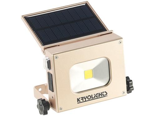 batterie d'appoint usb avec chargeur solaire et projecteur led 10w intégré kryolights