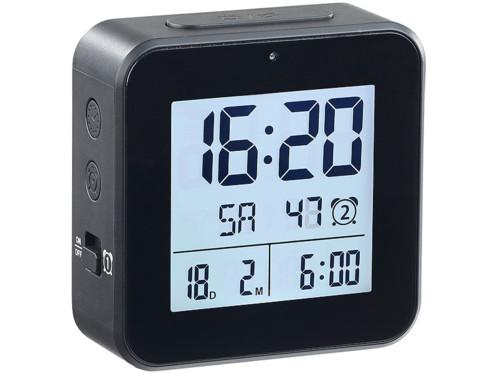 Réveil radio piloté avec fonctions thermomètre et hygromètre Noir