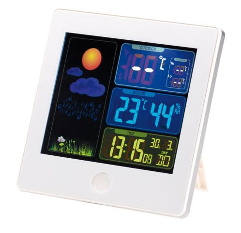 Station météo & horloge radio pilotée avec capteur extérieur FWS 260 Blanc