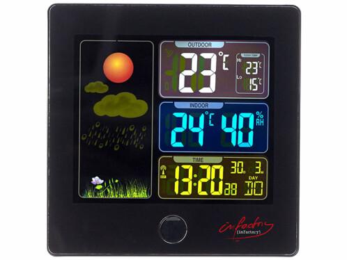 Station météo & horloge radio-pilotée avec capteur extérieur FWS-260 - Noir