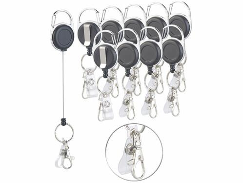10 porte-clés rétractables avec mousqueton