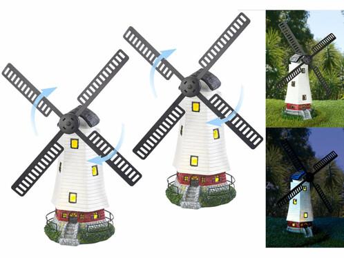 2 moulins décoratifs solaires à LED - 32 cm