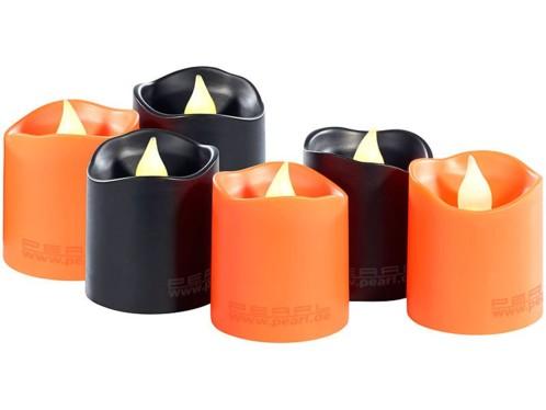 6 bougies à LED spécial Halloween - coloris orange et noir
