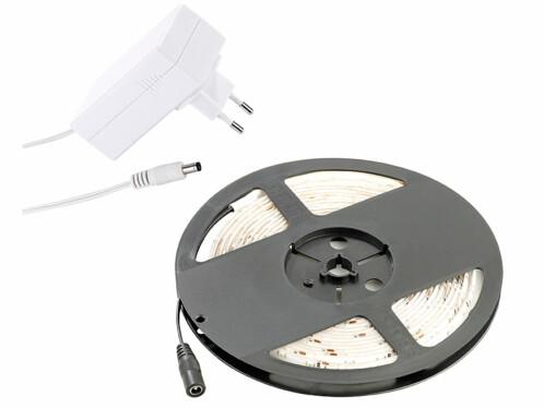 Bande à LED pour intérieur, 5 m, avec prise secteur - Blanc chaud