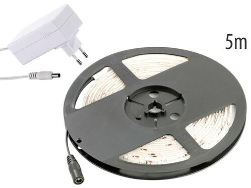 Bande à LED pour intérieur, 5 m, avec prise secteur - Blanc