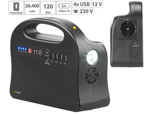 Batterie nomade 24A & convertisseur solaire avec prises 230 V / 12 V / USB HSG-260