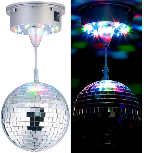 Boule disco rotative Ø 15 cm avec socle, 18 LED colorées et 2 effets lumineux