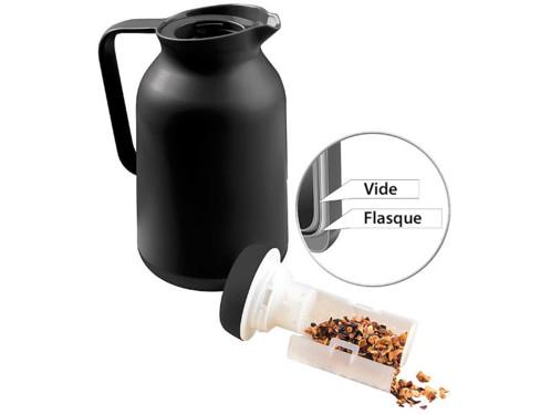 Bouteille isotherme noire de 1 L avec filtre intégré.
