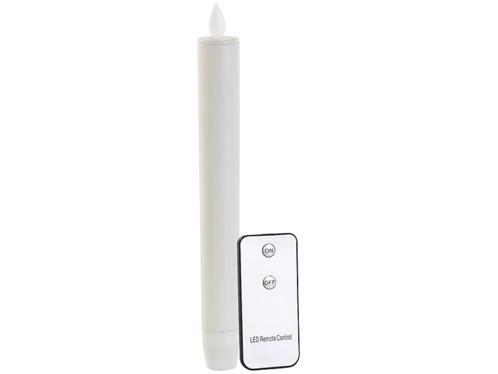 Chandelle à LED avec flamme vacillante et télécommande - blanc
