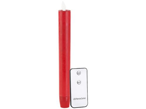 Chandelle à LED avec flamme vacillante et télécommande - Rouge